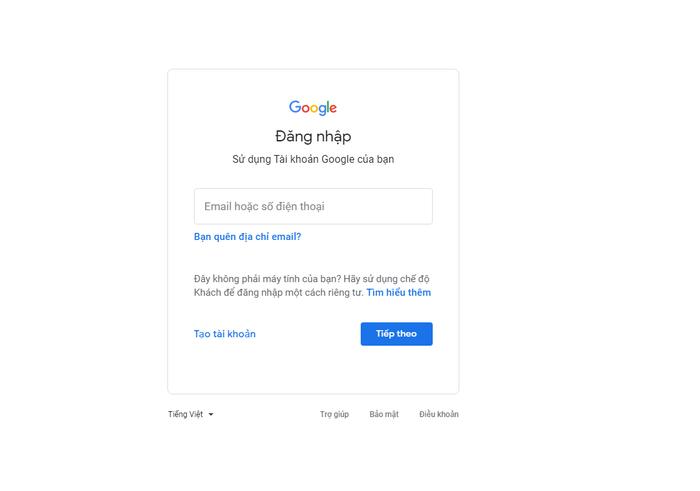 Hãy nhanh chóng truy cập vào trang đăng nhập của Gmail