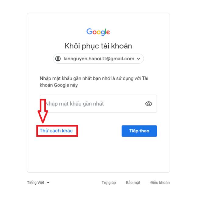 Giao diện khôi phục của Gmail và lựa chọn dành chob ạn