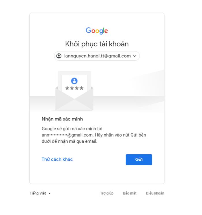 Thông báo của Google trong trường hợp này