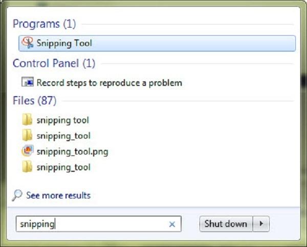 Ở Thanh Tìm Kiếm Của Start Gõ Snipping Tool