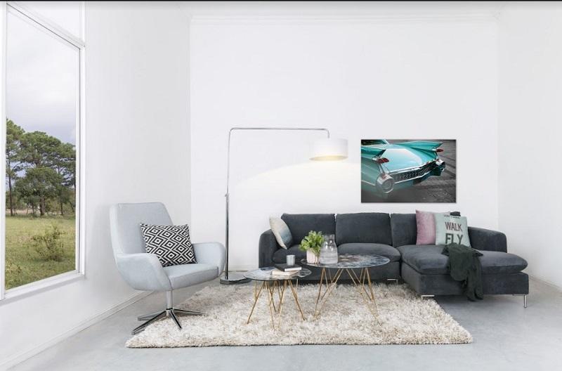 Mẫu sofa góc chữ L giúp tối ưu diện tích cho một không gian hiện đại